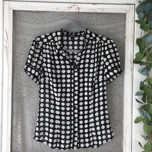 4/$25 BCX Black and White Polka Dot Blouse M  (J8)
